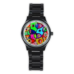 Digitally Painted Colourful Abstract Whimsical Shape Pattern Stainless Steel Round Watch