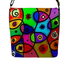 Digitally Painted Colourful Abstract Whimsical Shape Pattern Flap Messenger Bag (l)  by BangZart
