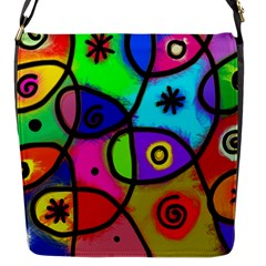 Digitally Painted Colourful Abstract Whimsical Shape Pattern Flap Messenger Bag (s) by BangZart
