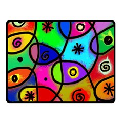 Digitally Painted Colourful Abstract Whimsical Shape Pattern Double Sided Fleece Blanket (small)