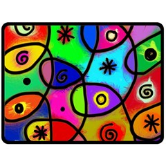 Digitally Painted Colourful Abstract Whimsical Shape Pattern Double Sided Fleece Blanket (large)