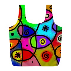 Digitally Painted Colourful Abstract Whimsical Shape Pattern Full Print Recycle Bags (l)  by BangZart
