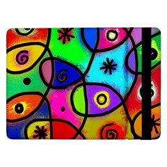 Digitally Painted Colourful Abstract Whimsical Shape Pattern Samsung Galaxy Tab Pro 12 2  Flip Case