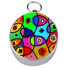 Digitally Painted Colourful Abstract Whimsical Shape Pattern Silver Compasses by BangZart