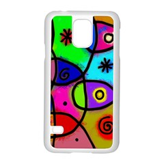 Digitally Painted Colourful Abstract Whimsical Shape Pattern Samsung Galaxy S5 Case (white) by BangZart