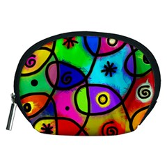 Digitally Painted Colourful Abstract Whimsical Shape Pattern Accessory Pouches (medium)  by BangZart