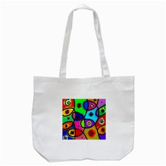 Digitally Painted Colourful Abstract Whimsical Shape Pattern Tote Bag (white) by BangZart