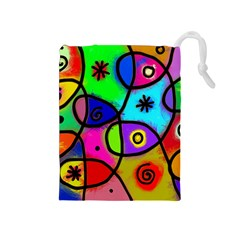 Digitally Painted Colourful Abstract Whimsical Shape Pattern Drawstring Pouches (medium)  by BangZart