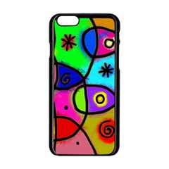 Digitally Painted Colourful Abstract Whimsical Shape Pattern Apple Iphone 6/6s Black Enamel Case