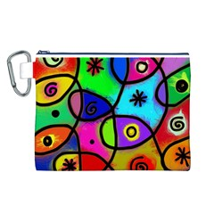 Digitally Painted Colourful Abstract Whimsical Shape Pattern Canvas Cosmetic Bag (l) by BangZart