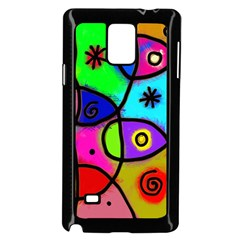 Digitally Painted Colourful Abstract Whimsical Shape Pattern Samsung Galaxy Note 4 Case (black) by BangZart