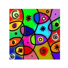 Digitally Painted Colourful Abstract Whimsical Shape Pattern Small Satin Scarf (square) by BangZart