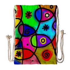 Digitally Painted Colourful Abstract Whimsical Shape Pattern Drawstring Bag (large)