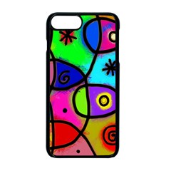 Digitally Painted Colourful Abstract Whimsical Shape Pattern Apple Iphone 7 Plus Seamless Case (black) by BangZart