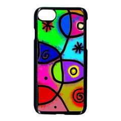 Digitally Painted Colourful Abstract Whimsical Shape Pattern Apple Iphone 7 Seamless Case (black) by BangZart