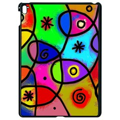 Digitally Painted Colourful Abstract Whimsical Shape Pattern Apple Ipad Pro 9 7   Black Seamless Case