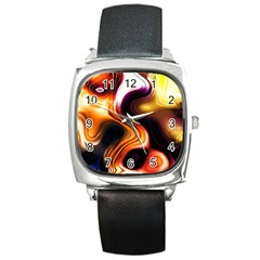 Colourful Abstract Background Design Square Metal Watch by BangZart