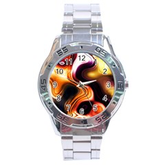 Colourful Abstract Background Design Stainless Steel Analogue Watch by BangZart