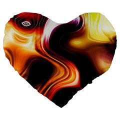 Colourful Abstract Background Design Large 19  Premium Flano Heart Shape Cushions by BangZart