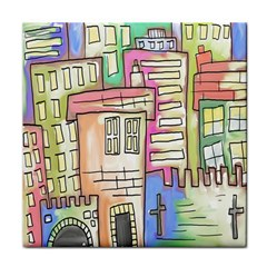 A Village Drawn In A Doodle Style Tile Coasters