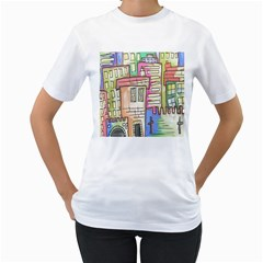 A Village Drawn In A Doodle Style Women s T Shirt (white) (two Sided) by BangZart
