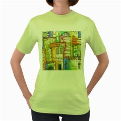 A Village Drawn In A Doodle Style Women s Green T Shirt