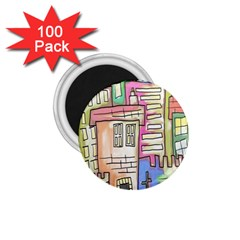 A Village Drawn In A Doodle Style 1 75  Magnets (100 Pack)