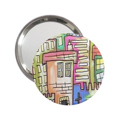 A Village Drawn In A Doodle Style 2 25  Handbag Mirrors by BangZart