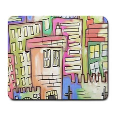 A Village Drawn In A Doodle Style Large Mousepads by BangZart