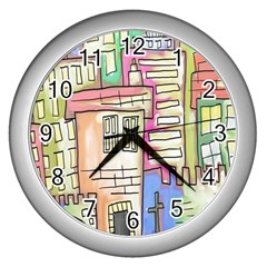 A Village Drawn In A Doodle Style Wall Clocks (silver)  by BangZart