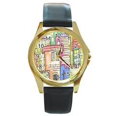 A Village Drawn In A Doodle Style Round Gold Metal Watch by BangZart