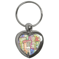 A Village Drawn In A Doodle Style Key Chains (heart)