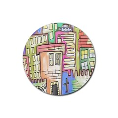 A Village Drawn In A Doodle Style Rubber Round Coaster (4 Pack)  by BangZart