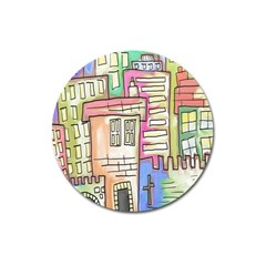 A Village Drawn In A Doodle Style Magnet 3  (round)