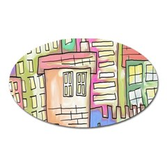 A Village Drawn In A Doodle Style Oval Magnet by BangZart