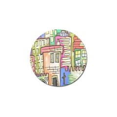 A Village Drawn In A Doodle Style Golf Ball Marker by BangZart