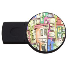 A Village Drawn In A Doodle Style Usb Flash Drive Round (2 Gb) by BangZart