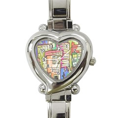 A Village Drawn In A Doodle Style Heart Italian Charm Watch by BangZart