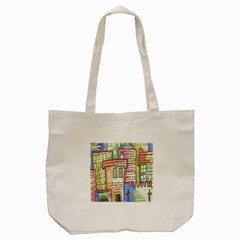 A Village Drawn In A Doodle Style Tote Bag (cream) by BangZart
