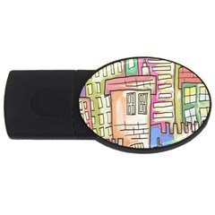 A Village Drawn In A Doodle Style Usb Flash Drive Oval (4 Gb) by BangZart