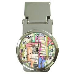 A Village Drawn In A Doodle Style Money Clip Watches by BangZart