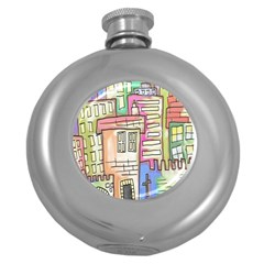 A Village Drawn In A Doodle Style Round Hip Flask (5 Oz) by BangZart