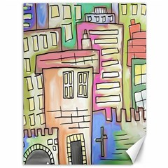 A Village Drawn In A Doodle Style Canvas 36  X 48   by BangZart