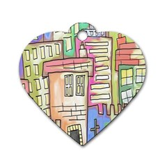 A Village Drawn In A Doodle Style Dog Tag Heart (one Side) by BangZart