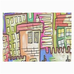 A Village Drawn In A Doodle Style Large Glasses Cloth (2 Side)