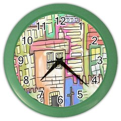 A Village Drawn In A Doodle Style Color Wall Clocks