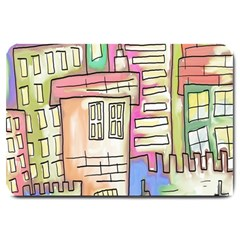 A Village Drawn In A Doodle Style Large Doormat  by BangZart