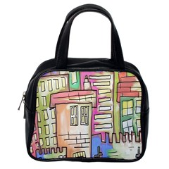 A Village Drawn In A Doodle Style Classic Handbags (one Side) by BangZart