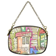 A Village Drawn In A Doodle Style Chain Purses (two Sides)