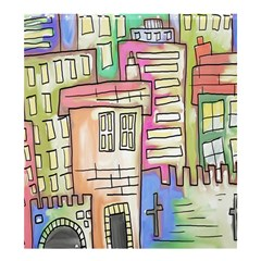 A Village Drawn In A Doodle Style Shower Curtain 66  X 72  (large)  by BangZart